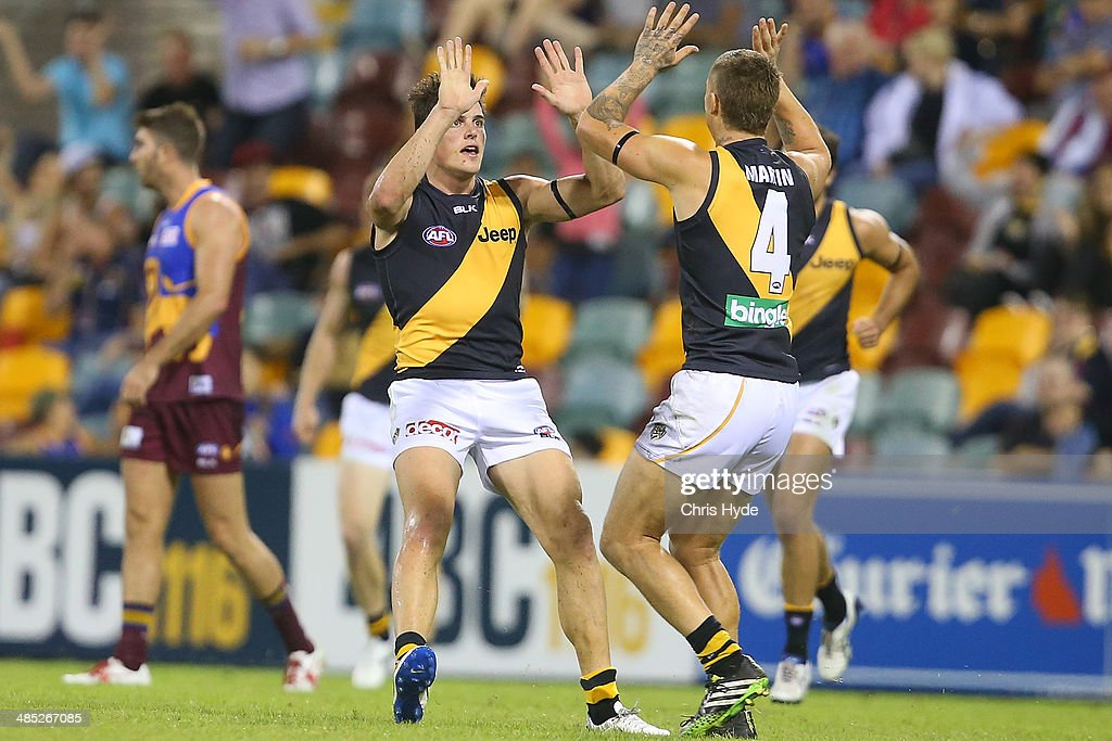 Nathan Gordon of the Tigers celebrates kicking a goal during the round five AFL match between the Brisbane Lions and the Richmond Tigers at The Gabba on April 17, 2014 in Brisbane, Australia.