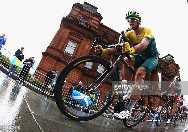 Nathan Haas of Australia competes during the Men's Cycling Road Race during day eleven of the Glasgow 2014 Commonwealth Games on August 3 2014 in...