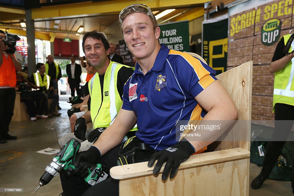 Nathan Harris of Bay of Plenty poses with his completed challenge along side his apprentice Bradley Erceg during the 2013 launch of the ITM Cup at Unitec on August 6, 2013 in Auckland, New Zealand.