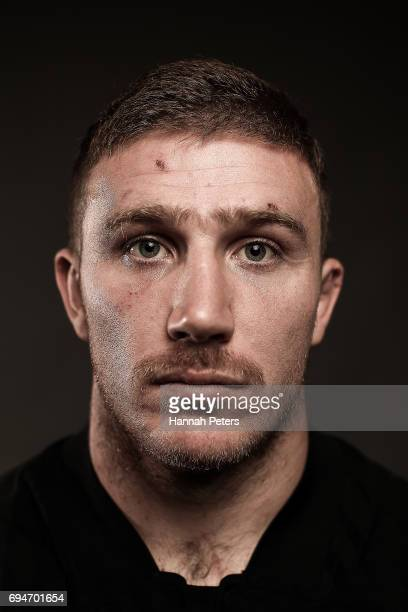 Nathan Harris poses for a portrait during the New Zealand All Blacks Headshots Session on June 11 2017 in Auckland New Zealand