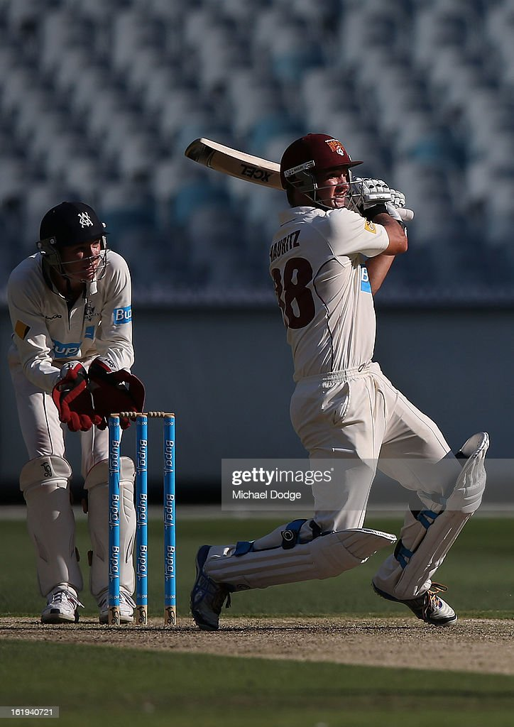 <a gi-track='captionPersonalityLinkClicked' href=/galleries/search?phrase=Nathan+Hauritz&family=editorial&specificpeople=224541 ng-click='$event.stopPropagation()'>Nathan Hauritz</a> of the Queensland Bulls hits the ball during day one of the Sheffield Shield match between the Victorian Bushrangers and the Queensland Bulls at Melbourne Cricket Ground on February 18, 2013 in Melbourne, Australia.