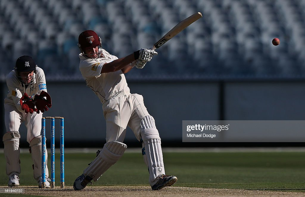 Nathan Hauritz of the Queensland Bulls hits the ball during day one of the Sheffield Shield match between the Victorian Bushrangers and the Queensland Bulls at Melbourne Cricket Ground on February 18, 2013 in Melbourne, Australia.