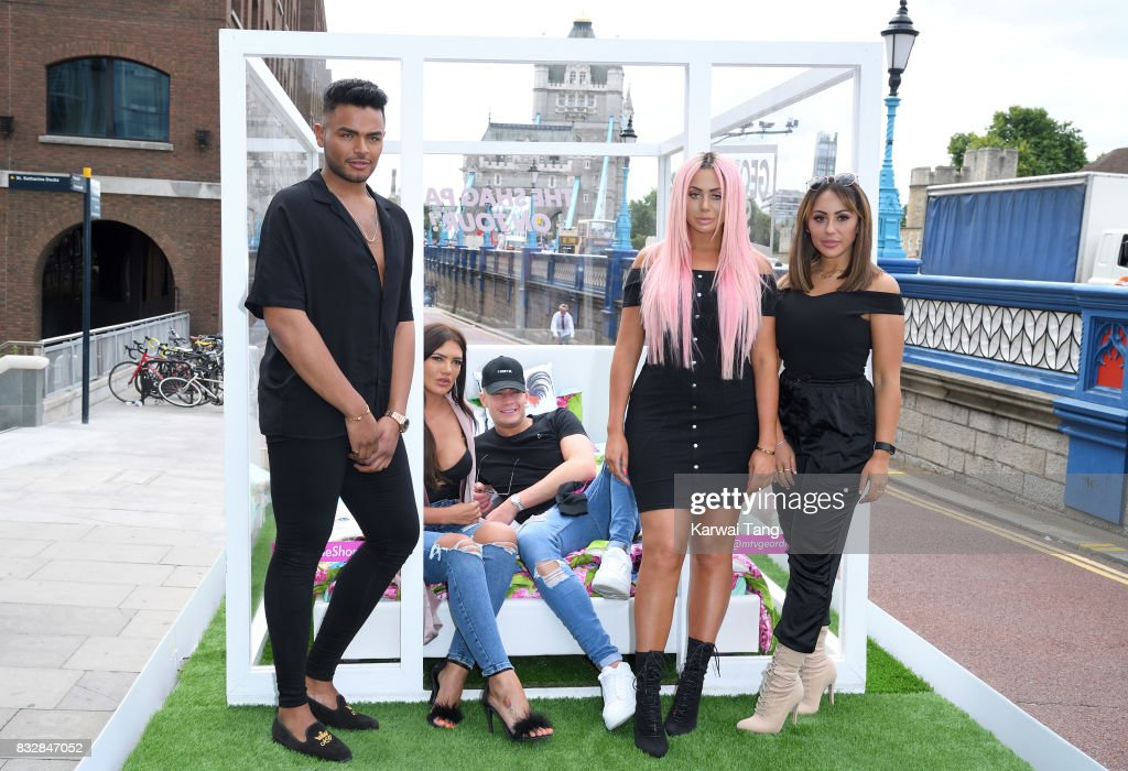 Nathan Henry, Abbie Holborn, Scotty T, Chloe Ferry and Sophie Kasaei attend the Geordie Shore series 15 'Shag Pad on Tour ' cast launch at Tower Bridge on August 16, 2017 in London, England.