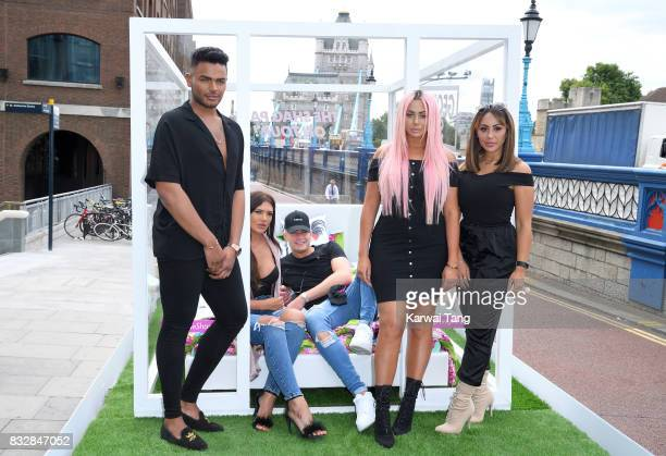 Nathan Henry Abbie Holborn Scotty T Chloe Ferry and Sophie Kasaei attend the Geordie Shore series 15 'Shag Pad on Tour ' cast launch at Tower Bridge...
