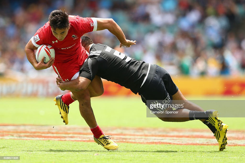 Nathan Hirayama of Canada is tackled during the 2016 Sydney Sevens match between Canada and New Zealand at Allianz Stadium on February 6, 2016 in Sydney, Australia.