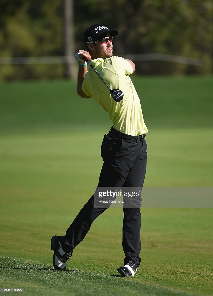 <a gi-track='captionPersonalityLinkClicked' href=/galleries/search?phrase=Nathan+Holman+-+Golfer&family=editorial&specificpeople=15366961 ng-click='$event.stopPropagation()'>Nathan Holman</a> of Australia plays his second shot on the 18th hole during the third round of the Omega Dubai Desert Classic at the Emirates Golf Club on February 6, 2016 in Dubai, United Arab Emirates.