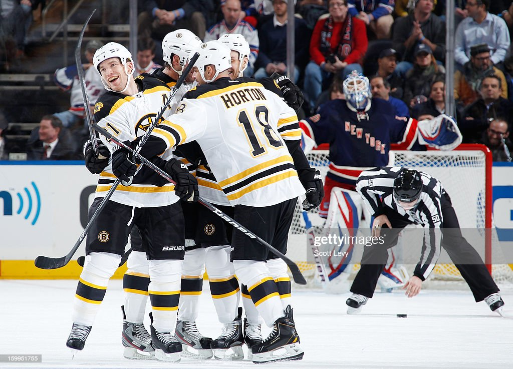 Nathan Horton #18 of the Boston Bruins celebrates his third period goal against Henrik Lundqvist #30 of the New York Rangers at Madison Square Garden on January 23, 2013 in New York City. The Rangers defeat the Bruins 4-3 in overtime.