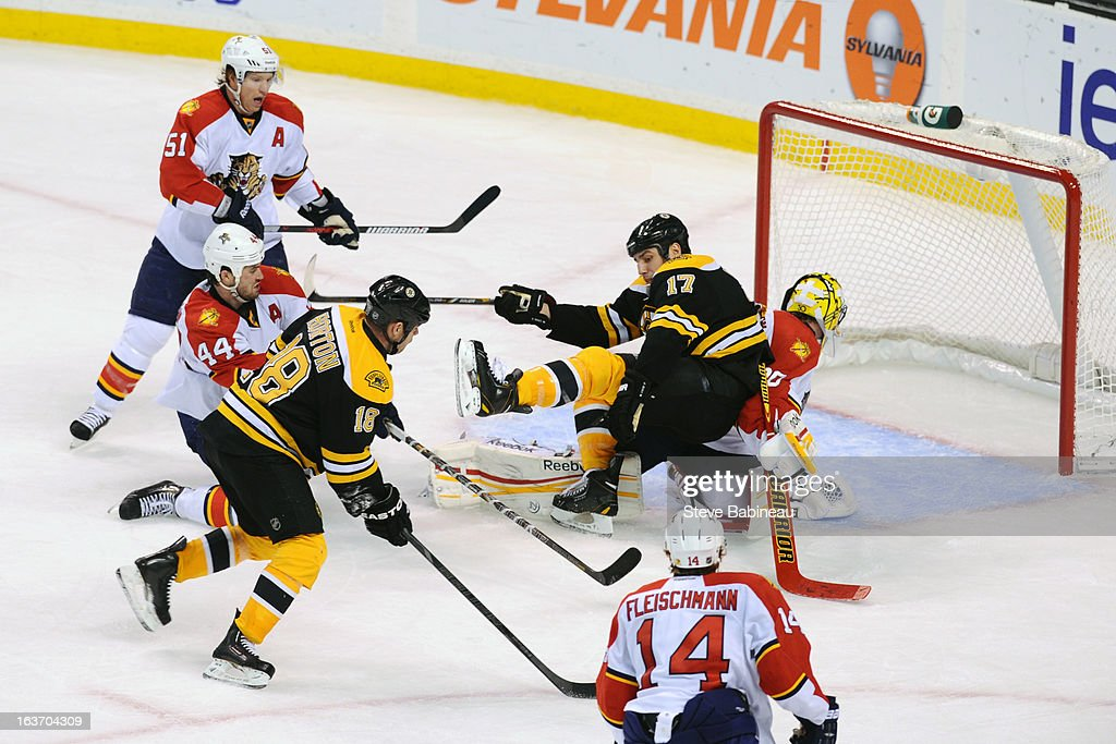 <a gi-track='captionPersonalityLinkClicked' href=/galleries/search?phrase=Nathan+Horton&family=editorial&specificpeople=204741 ng-click='$event.stopPropagation()'>Nathan Horton</a> #18 of the Boston Bruins scores a goal that gets taken away during the third period against the Florida Panthers at the TD Garden on March 14, 2013 in Boston, Massachusetts.