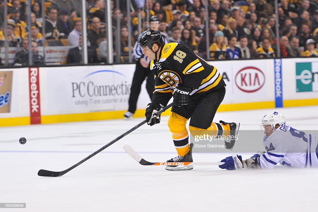 <a gi-track='captionPersonalityLinkClicked' href=/galleries/search?phrase=Nathan+Horton&family=editorial&specificpeople=204741 ng-click='$event.stopPropagation()'>Nathan Horton</a> #18 of the Boston Bruins skates with the puck against <a gi-track='captionPersonalityLinkClicked' href=/galleries/search?phrase=Mikhail+Grabovski&family=editorial&specificpeople=2560547 ng-click='$event.stopPropagation()'>Mikhail Grabovski</a> #84 of the Toronto Maple Leafs at the TD Garden on March 7, 2013 in Boston, Massachusetts.