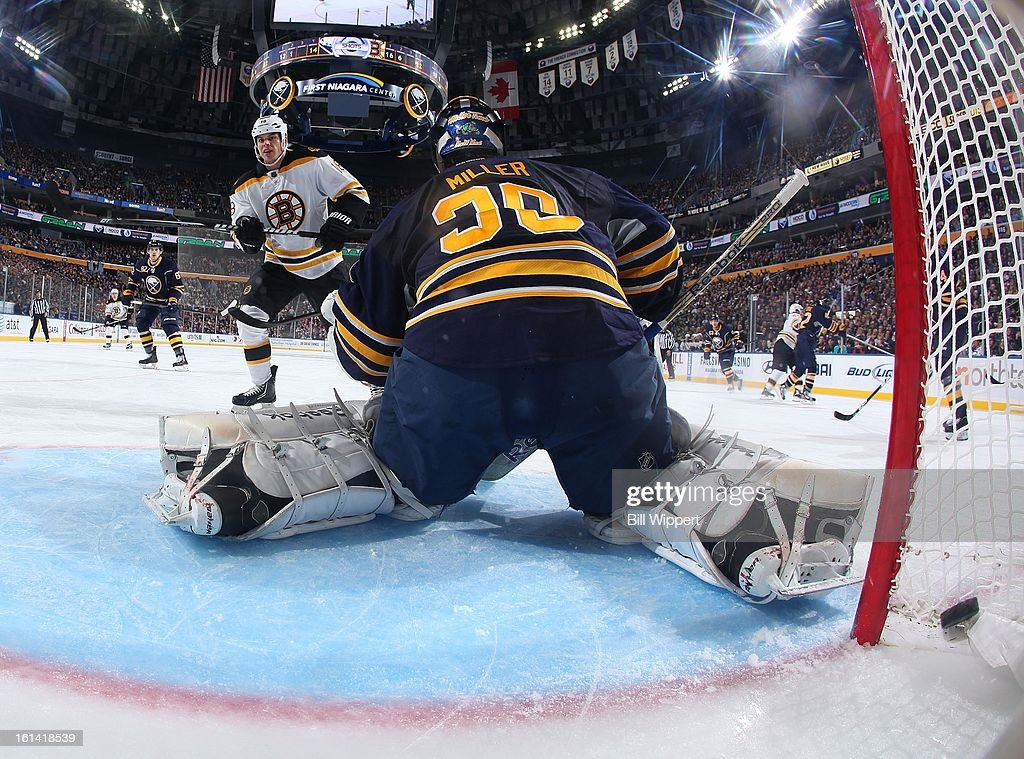 <a gi-track='captionPersonalityLinkClicked' href=/galleries/search?phrase=Nathan+Horton&family=editorial&specificpeople=204741 ng-click='$event.stopPropagation()'>Nathan Horton</a> #18 of the Boston Bruins watches as teammate Brad Marchand (not shown) scores a second period goal against Ryan Miller #30 of the Buffalo Sabres on February 10, 2013 at the First Niagara Center in Buffalo, New York. Boston defeated Buffalo, 3-1.