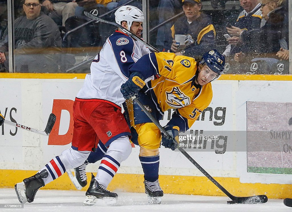 <a gi-track='captionPersonalityLinkClicked' href=/galleries/search?phrase=Nathan+Horton&family=editorial&specificpeople=204741 ng-click='$event.stopPropagation()'>Nathan Horton</a> #8 of the Columbus Blue Jackets checks <a gi-track='captionPersonalityLinkClicked' href=/galleries/search?phrase=Gabriel+Bourque&family=editorial&specificpeople=5627917 ng-click='$event.stopPropagation()'>Gabriel Bourque</a> #57 of the Nashville Predators at Bridgestone Arena on March 8, 2014 in Nashville, Tennessee.