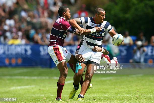 Nathan Hughes of Auckland looks to pass against Southland during the National Rugby Sevens at the Queenstown Recreation Ground on January 13 2013 in...
