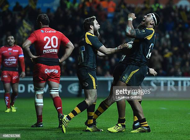 Nathan Hughes of Wasps celebrates scoring a second half try during the European Rugby Champions Cup match between Wasps and Toulon at Ricoh Arena on...