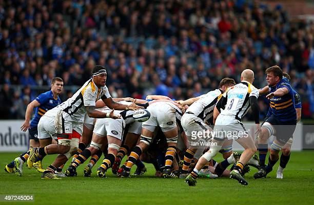 Nathan Hughes of Wasps in action during the European Rugby Champions Cup match between Leinster Rugby and Wasps at the RDS Arena on November 15 2015...