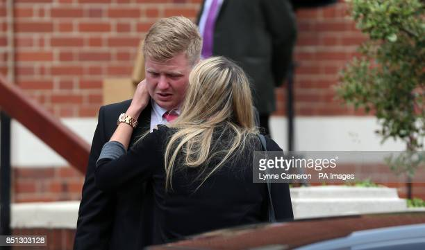 Nathan Hurcombe leaves the funeral of his girlfriend Beth Jones who died in a crash on the M62 as she headed to a hen party at Joseph's church in...