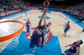 Nathan Jawai #32 of FC Barcelona Regal competes with Kostas Tsartsaris #12 of Panathinaikos Athens during the Turkish Airlines Euroleague 20122013...