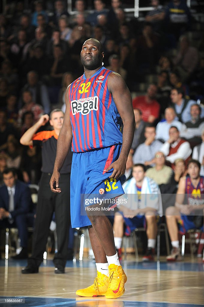 Nathan Jawai, #32 of FC Barcelona Regal in action during the 2012-2013 Turkish Airlines Euroleague Regular Season Game Day 7 between FC Barcelona Regal v Lietuvos Rytas Vilnius at Palau Blaugrana on November 22, 2012 in Barcelona, Spain.