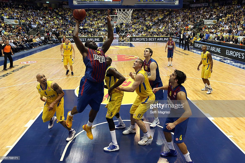 Nathan Jawai, #32 of FC Barcelona Regal in action during the 2012-2013 Turkish Airlines Euroleague Top 16 Date 7 between Maccabi Electra Tel Aviv v FC Barcelona Regal at Nokia Arena on February 14, 2013 in Tel Aviv, Israel.
