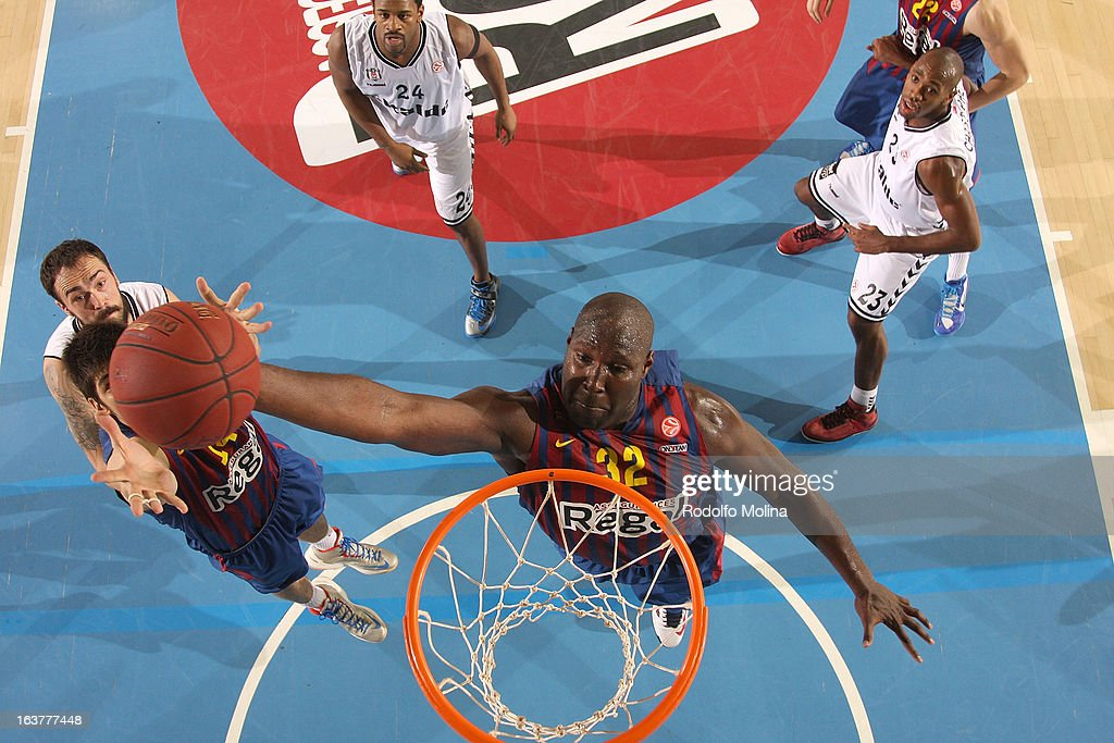 Nathan Jawai, #32 of FC Barcelona Regal in action during the 2012-2013 Turkish Airlines Euroleague Top 16 Date 11 between FC Barcelona Regal v Besiktas JK Istanbul at Palau Blaugrana on March 15, 2013 in Barcelona, Spain.