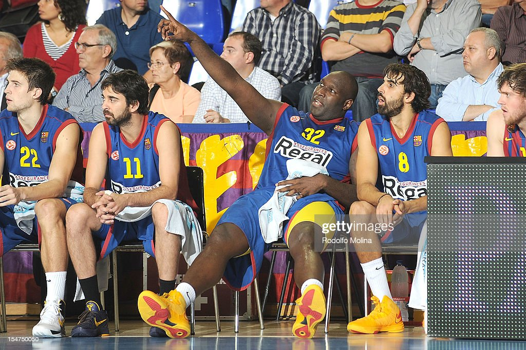 Nathan Jawai, #32 of FC Barcelona Regal talking to Victor Sada, #8 during the 2012-2013 Turkish Airlines Euroleague Regular Season Game Day 3 between FC Barcelona Regal v Besiktas JK Istanbul at Palau Blaugrana on October 25, 2012 in Barcelona, Spain.