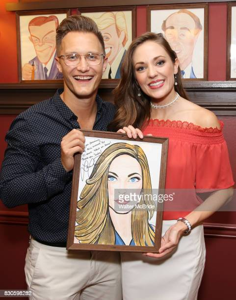Nathan Johnson and Laura Osnes during the Corey Cott Sardi's Portrait unveiling at Sardi's Restaurant on August 11 2017 in New York City