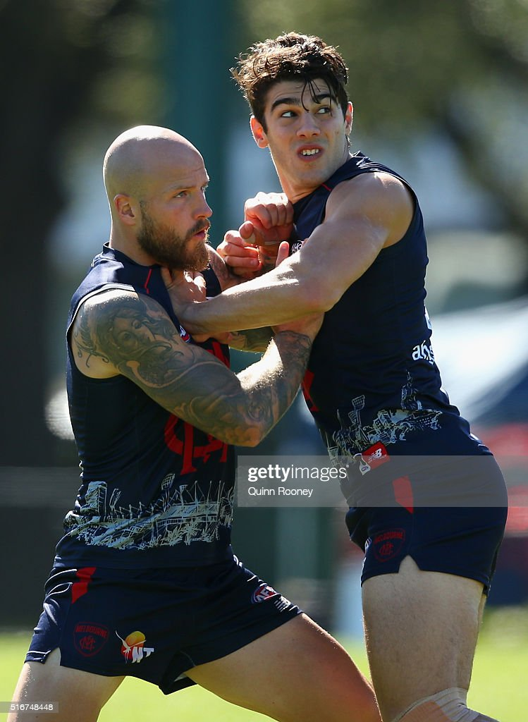 Nathan Jones and Christian Petracca of the Demons compete for a mark during a Melbourne Demons AFL training session at Gosch's Paddock on March 21...