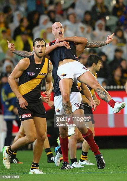 Nathan Jones of the Demons celebrates after kicking a goal during the round four AFL match between the Richmond Tigers and the Melbourne Demons at...
