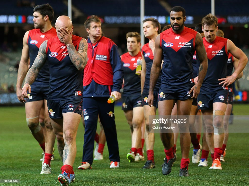 Nathan Jones of the Demons looks dejected after losing the round 17 AFL match between the Melbourne Demons and the St Kilda Saints at Melbourne...