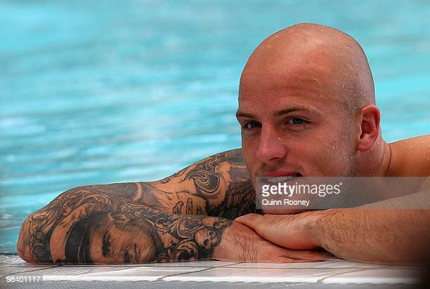 Nathan Jones of the Demons relaxes in the hydrobath pool during a Melbourne Demons AFL recovery session at the Melbourne Sports and Aquatics Centre...