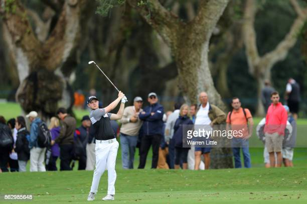 Nathan Kimsey of England hits his second shot on the 10th hole during day one of the Andalucia Valderrama Masters at Real Club Valderrama on October...