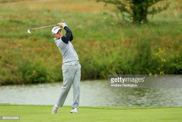Nathan Kimsey of England plays his second shot on the 1st during day four of the HNA Open de France at Le Golf National on July 2 2017 in Paris France