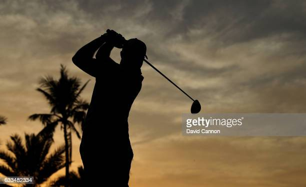 Nathan Kimsey of England plays his tee shot on the par 5 10th hole during the first round of the 2017 Omega Dubai Desert Classic on the Majlis Course...