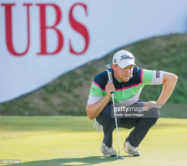 Nathan Kimsey of England ponders his next move during the 58th UBS Hong Kong Golf Open as part of the European Tour on 10 December 2016 at the Hong...