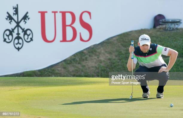 Nathan Kimsey of England putts on the green during the 58th UBS Hong Kong Golf Open as part of the European Tour on 10 December 2016 at the Hong Kong...