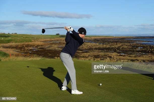 Nathan Kimsey of England tees off on the 3rd during day one of the 2017 Alfred Dunhill Championship at Kingsbarns on October 5 2017 in St Andrews...