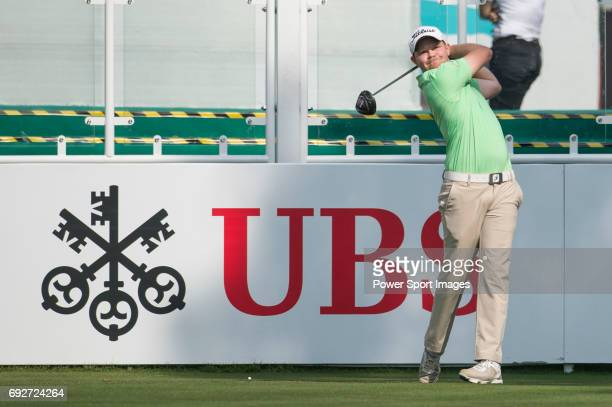 Nathan Kimsey of England tees off the first hole during the 58th UBS Hong Kong Golf Open as part of the European Tour on 08 December 2016 at the Hong...