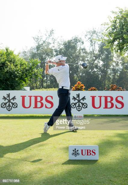 Nathan Kimsey of England tees off the first hole during the 58th UBS Hong Kong Golf Open as part of the European Tour on 11 December 2016 at the Hong...