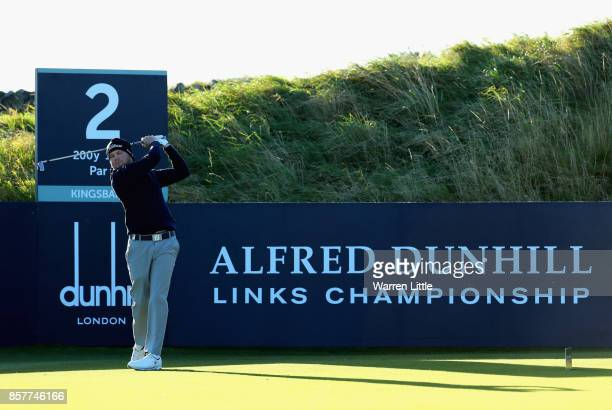 Nathan Kimsey tees off on the 2nd during day one of the 2017 Alfred Dunhill Championship at Kingsbarns on October 5 2017 in St Andrews Scotland