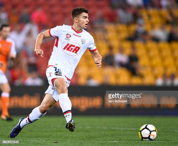 Nathan Konstandopoulos of Adelaide United passes the ball during the round two ALeague match between the Brisbane Roar and Adelaide United at Suncorp...