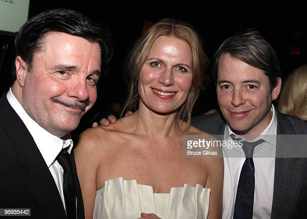Nathan Lane Pamela Jane Gray and Matthew Broderick attend the opening night party for 'Present Laughter' on Broadway at BB King's on January 21 2010...