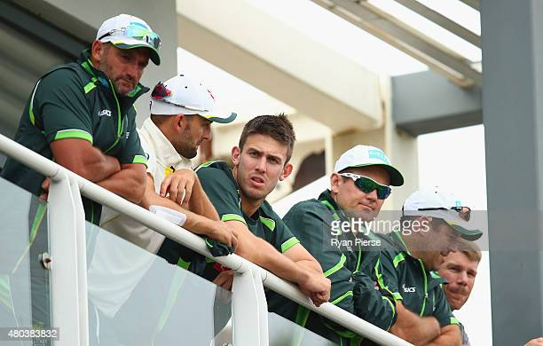 Nathan Lyon and Mitch Marsh of Australia look on after day four of the 1st Investec Ashes Test match between England and Australia at SWALEC Stadium...