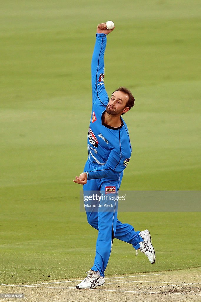 Nathan Lyon of Adelaide bowls during the Big Bash League match between the Adelaide Strikers and the Perth Scorchers at Adelaide Oval on January 10, 2013 in Adelaide, Australia.