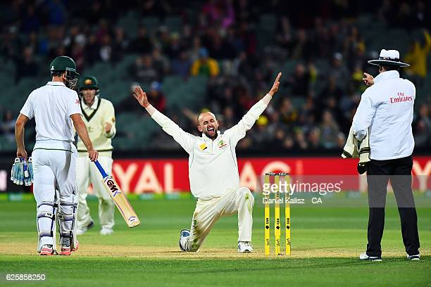 Nathan Lyon of Australia appeals as Kyle Abbott of South Africa is given out lbw during day three of the Third Test match between Australia and South...