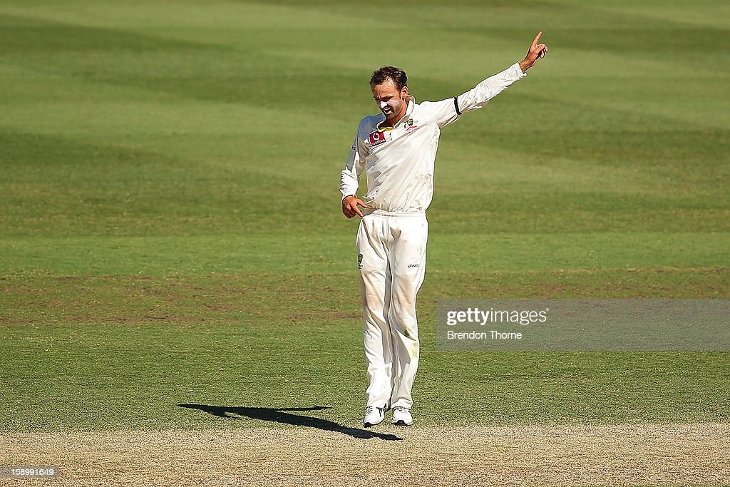 Nathan Lyon of Australia appeals during day three of the Third Test match between Australia and Sri Lanka at the Sydney Cricket Ground on January 5, 2013 in Sydney, Australia.