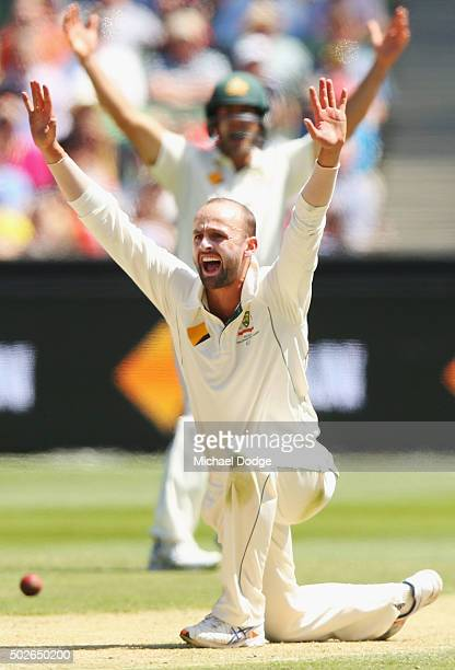 Nathan Lyon of Australia appeals for a LBW during day three of the Second Test match between Australia and the West Indies at Melbourne Cricket...