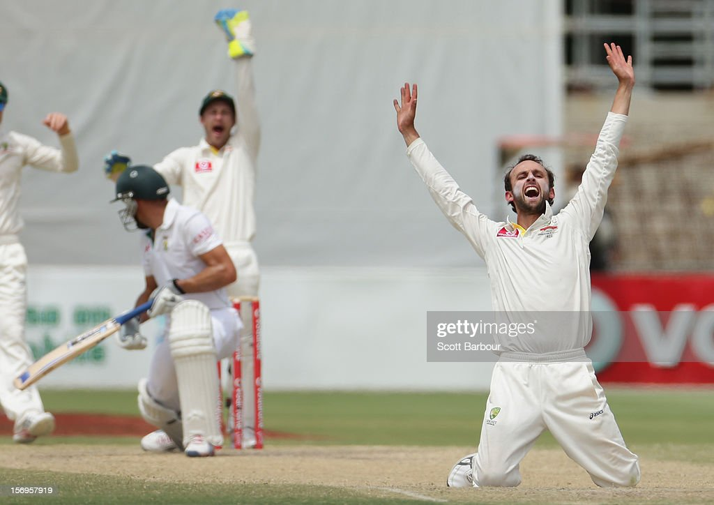 Nathan Lyon of Australia appeals for LBW against Faf du Plessis of South Africa which was later ruled not out by the third umpire during day five of the Second Test Match between Australia and South Africa at Adelaide Oval on November 26, 2012 in Adelaide, Australia.