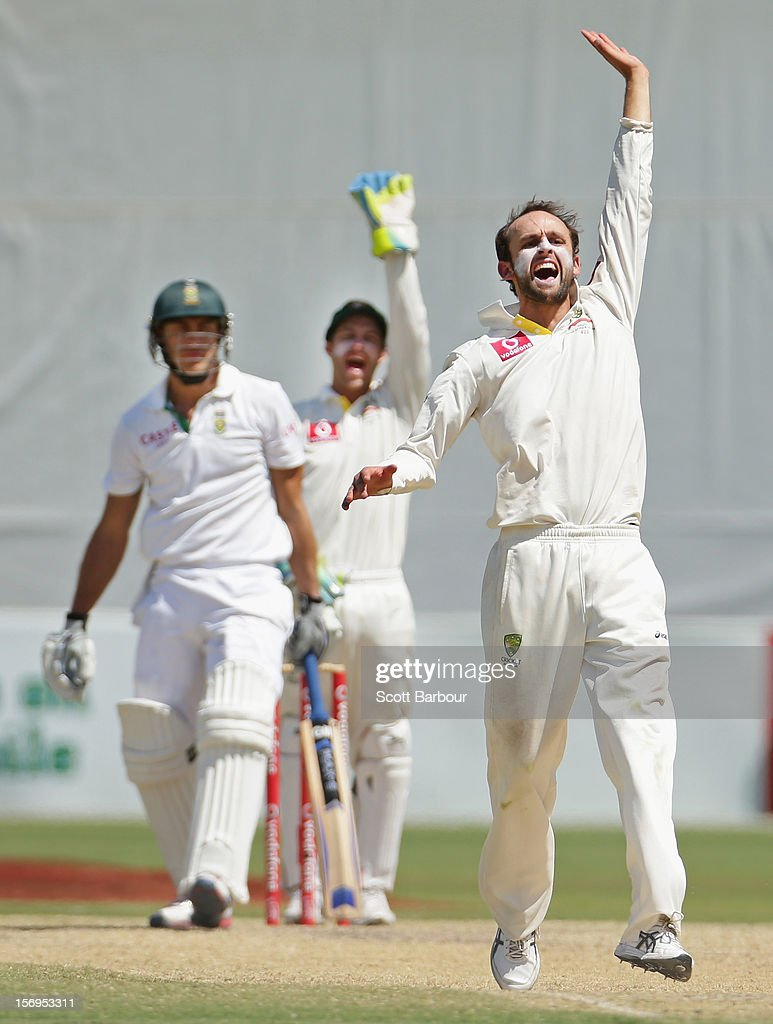 Nathan Lyon of Australia appeals unsuccessfully for LBW against Faf du Plessis of South Africa during day five of the Second Test Match between Australia and South Africa at Adelaide Oval on November 26, 2012 in Adelaide, Australia.