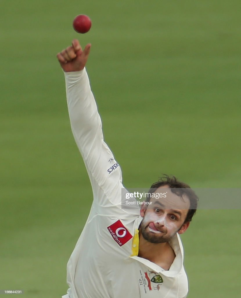 Nathan Lyon of Australia bowls during day two of the Second Test match between Australia and South Africa at Adelaide Oval on November 23, 2012 in Adelaide, Australia.
