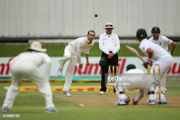 Nathan Lyon of Australia bowls during day two of the Second Test match between South Africa and Australia at AXXESS St George's Cricket Stadium on...