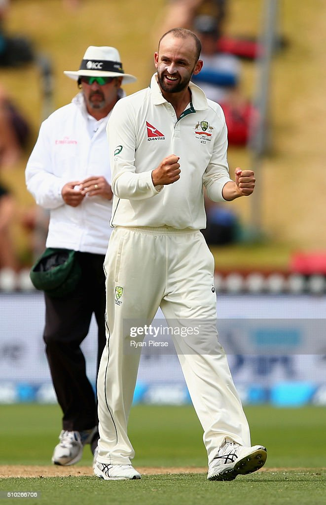 Nathan Lyon of Australia celebrates after taking the wicket of BJ Watling of New Zealand during day four of the Test match between New Zealand and Australia at Basin Reserve on February 15, 2016 in Wellington, New Zealand.